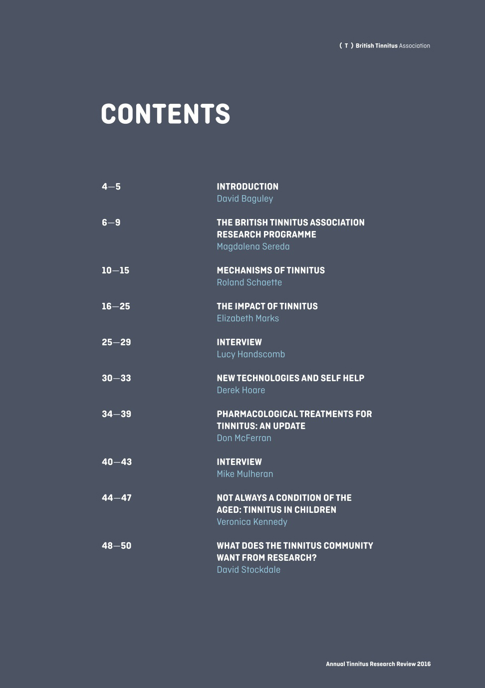 Contents page of Annual Tinnitus Research Review