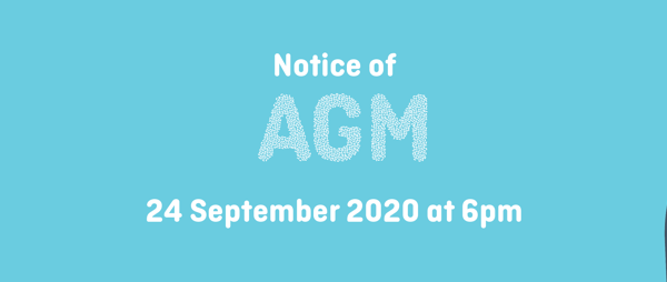 graphic of hand with microphone, text reading Notice of AGM, 24 September 2020 at 6pm