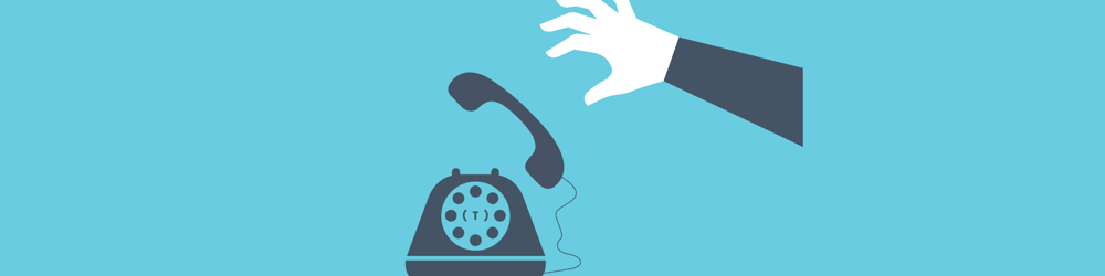 Blue cartoon style graphic of a hand picking up an old school telephone which is ringing