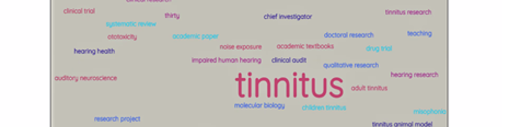 graphic showing interests of tinnitus researchers in the tinnitus researcher network