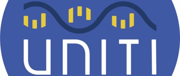 Unti logo, a blue circle with UNITI written in white across the centre, a sine wave is above the text with three yellow symbol under each crest