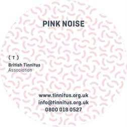 Pink Noise CD cover, pink circle cover with th BTA logo on it