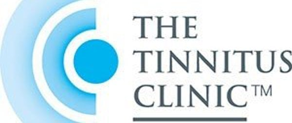 The Tinnitus clinic logo, a white background with a blue semicircle and the tinnitus clinic logo displayed