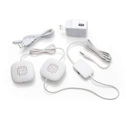Amplified Pillow Speakers by Sound Oasis pictured on a white backgound displaying each part