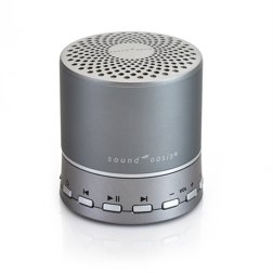 White bluetooth Sound Therapy System Sound Oasis  in white and silver on a white background