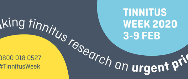 Tinnitus week banner with 2020 dates and times on it, blue baclground with light blue and yellow circle graphics around
