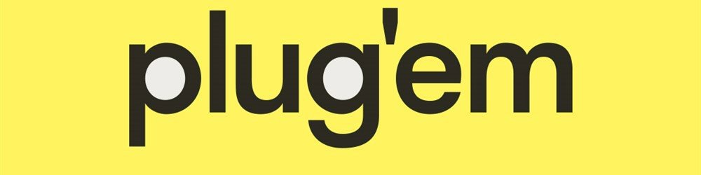 Plugem banner, Plugem logo is black font on a bright yellow background